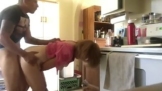 Taboo! Stepson fucks hard his mature stepmom in kitchen