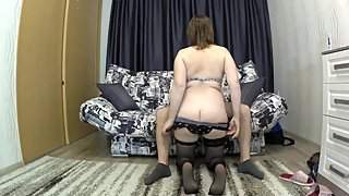 The stepmother with a big ass seduced her son for sex. mom and son blowjob