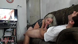 Hot babe decides to help stepcousin virgin and makes him cum three times