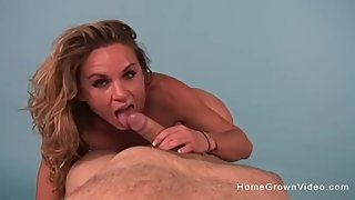 Horny blonde just wants a big cock stuffed in her mouth