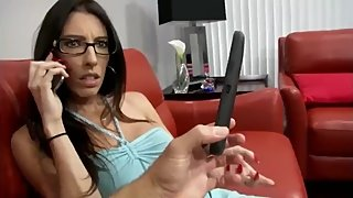 Horny stepmom gets creampie from her stepson while phone talking to husband