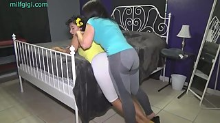 Milfs entertain each other by grinding each other's butt