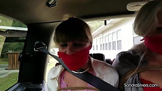 2300 - MILF Secretary Trio Nabbed, Tied Outdoors in SUV & Gagged On-Screen!