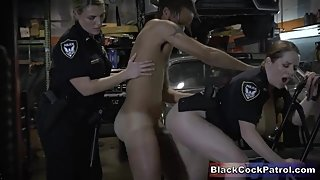 Naughty BBW Cops Suck & Fuck Black Dude During Arrest