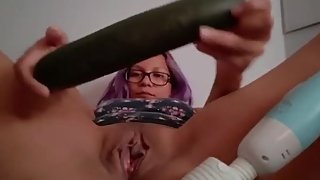 Horny milf uses cucumber to fuck herself - hard orgasm