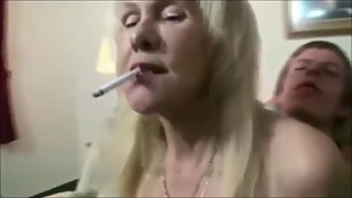Breasted grandma non stop smoke while her boytoy fucking her