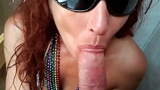 Red Head Biker Slut Sucks Big Cock at Biker Rally