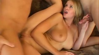 Blonde Jane Darling fucks 2 guys - awesome tits hot girl