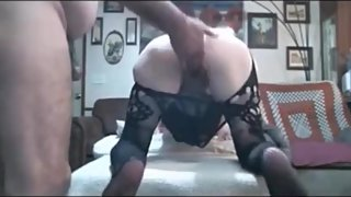Granny in lingerie anal fucked and toyed