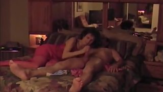 Hot granny in lingerie sucking and riding dick