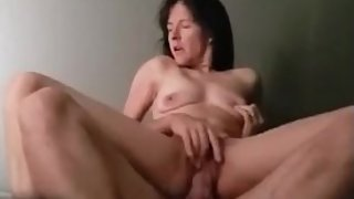 Wife rides cowgirl to great orgasm