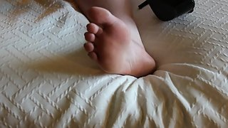 BBW feet in and out of polka dot stripper heels, cute toes and soles