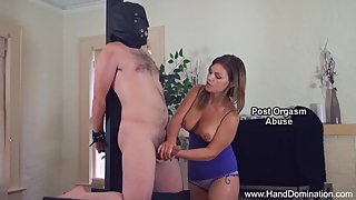 Cheating wife admires hard cock during femdom handjob