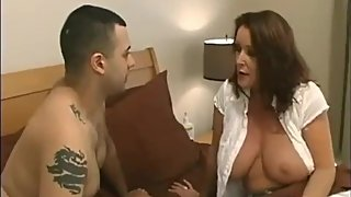 Taboo! Horny and busty stepmom seduces and fucks hard her virgin stepson