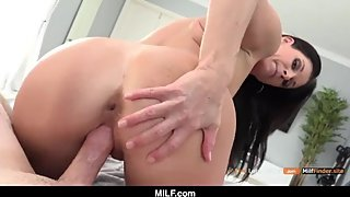 Slut MILF sucking and fucking a black college guy