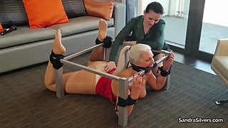 2278 - Ladyboss gives Bondage Orgasms to MILF Tied to & Gagged with a Table