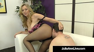 Sexy Dominating Cougar Julia Ann Pleasured Cock With Stocking Clad Feet!