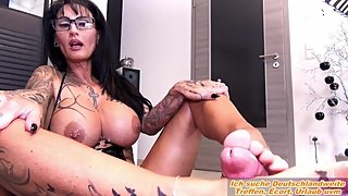 Best Footjob from german big tits tattoo amateur femdom milf in latex
