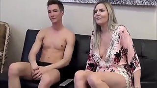 Taboo! Shameless american stepmom convinced her stepson to cum inside cunt