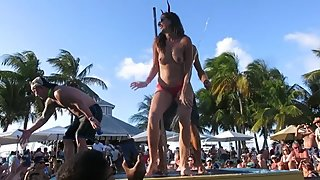 Sexy Slut Topless Dance at Fantasy Fest Pool Party Key West