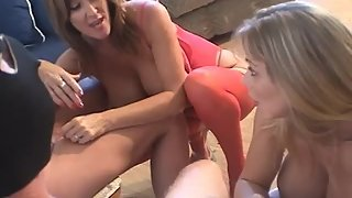 Rachel Steele HJ03 - Horny Wives swap husbands to jerk them off together