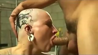bald milf fucked after head tattooed