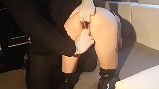 The pussy destruction of skinny Milf whore Lucy continues