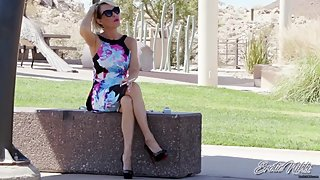 Spying On Hot MILF smoking In Park - Nikki Ashton -