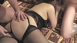 Chubby amateur brunette milf gets stuffed by three cocks
