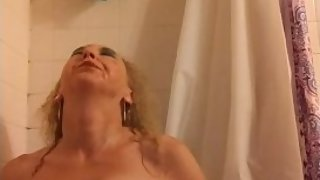 Sexy Natural Blonde MILF's hot, wet, golden shower with my makeup on