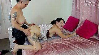 StepMommy Taboo Lesbian Strap-On Blowjob and Fucking