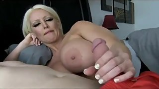 Busty and sexy divorced MILF shares the bed with her new roommate guy