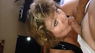 Hot granny making cum dick in a strange way
