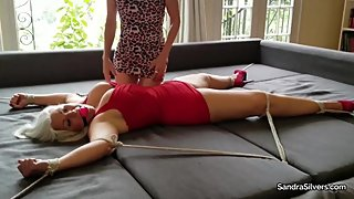 2274 Sandra Tied Spread Eagle, Gets Wand, Fingering & a Clit Licking Orgasm