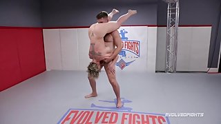 Busty Dee Williams mixed wrestling fight gags on cock of Jack Friday
