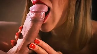 Beauty blonde girl do amazing blowjob and eat cum