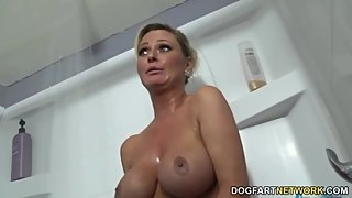 blonde milf whore with two big bamboo black cock
