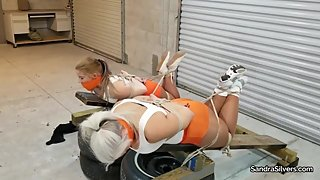 2248 Hooters Hotties Hogtied, Aggressively Gagged & Hooded On Screen!