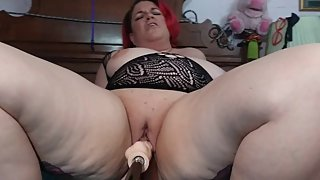 bbw's mouth, natural DDD tits and pussy rammed by fuck machine