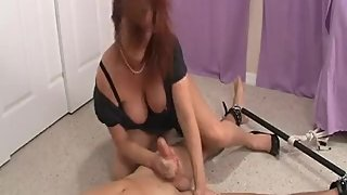 Rachel Steele HJ61 - Milf in black dress dominates and drain young cub