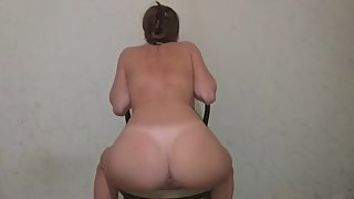 Very painful milf's spanking on the back and anus with a cord.